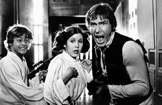 Mark Hamill, Carrie Fisher and Harrison Ford filming Star Wars (1977).