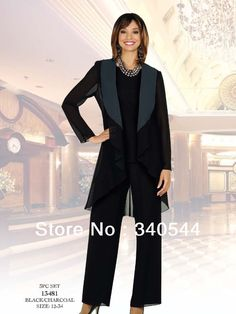 Plus Size Mother of the Bride Pant Suits Black navy blue long sleeves outfit dress Mother of the Bride Dresses with jacket $119.00