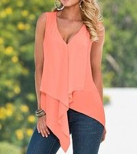 Wish | Sexy Women Deep V-Neck Chiffon Tank Tops Asymmetric Hem Casual Tops