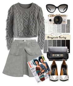 """""""Sacai Prince of Wales check bonded-cotton mini skirt"""" by thestyleartisan ❤ liked on Polyvore"""