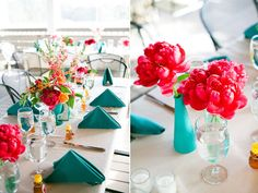 bright modern centerpieces - Denise Fasanello Floral Design - Brooklyn Bride