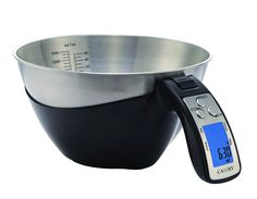 Camry 11lb / 5kg Precision Digital Mixing Bowl Kitchen Scale Stainless Steel Five Measuring Modes (Black) >> If you love this, read review @ : Baking mixing bowls