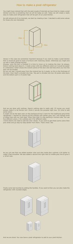 Comments Simple tutorial about how to make a pixel refrigerator for your pixel kitchen. Contact If you think that you didn't understand this tutorial fully then you can always send me a note and I ...