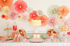 Bridal shower ideas. Blue, pink, coral, mint, green. Rosettes. Summer party. So pretty :)