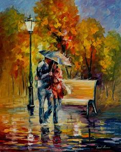 Red Raincoat by Leonid Afremov by Leonidafremov