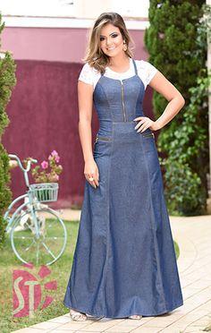 Demin Dress, Womens Denim Dress, Dress Skirt, Frock Fashion, Denim Fashion, Fashion Dresses, Modest Dresses, Cute Dresses, Mode Jeans