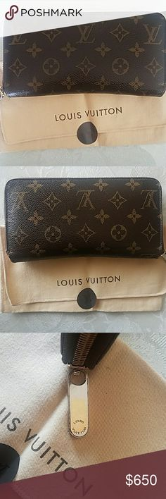 Louis Vuitton Zippy Wallet Authentic.   Date Code: SP1077  Zipper discolored but works perfectly. Some wear on corners. It is pictured. Only inside wear is in zipper compartment where I had coins. Authentic dust bag included.  Let me know if you have any questions.  **Reasonable offers considered via offer button. ** Louis Vuitton Bags Wallets