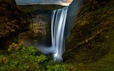 Framed - 60 meter high waterfall , skoga