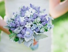 blue purple and white wedding bouquet