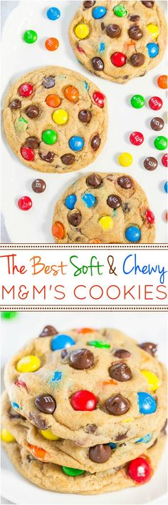 The Best Soft and Chewy M&M'S Cookies - Big, bakery-style cookies you can make at home that are BETTER than the bakery's! An easy recipe for the classic cookies everyone loves! Made large cookies cooked for 17 minutes Cookie Desserts, Just Desserts, Delicious Desserts, Yummy Food, Delicious Chocolate, The Best Dessert Recipes, Cookie Recipes For Kids, Cookie Ideas, Yummy Cookies
