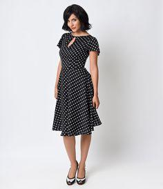 Unique Vintage 1940s Style Black & Ivory Dot Formosa Swing Dress