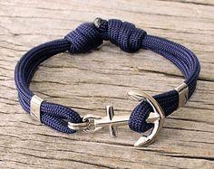 Casual anchor bracelet Nautical paracord bracelet by byMarisSal
