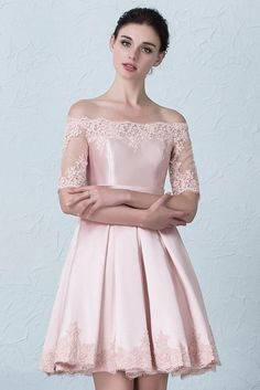 Short Mini Ball Gown Off The Shoulder Short Sleeve Pink Prom Evening Dress With Appliques Winter Prom Dresses, Wedding Party Dresses, Homecoming Dresses, Lace Wedding, Evening Dresses, Prom Dresses Online, Lace Sleeves, Pretty Dresses, Lace Dress