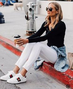 Casual Sunday style Jean jacket d - Gucci Jeans - Ideas of Gucci Jeans - Casual Sunday style Jean jacket denim jacket white jeans Gucci sneakers Gucci Sneakers Outfit, Sneaker Outfits Women, Sunday Outfits, Mode Outfits, Casual Outfits, Dress Outfits, Fall Outfits, White Jeans Outfit, White Skinny Jeans
