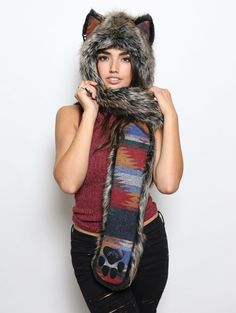 Direwolf Collectors Edition faux fur animal inspired hood. Unisex (one size fits most).