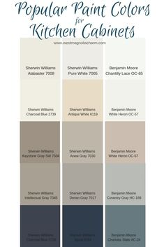 Popular Kitchen Cabinet Paint Colors - West Magnolia Charm - - Painting your kitchen cabinets is a budget-friendly way to update your kitchen. Consider using one of these popular kitchen cabinet paint colors to complete the transformation. Diy Kitchen Cabinets, Kitchen Redo, New Kitchen, Farmhouse Cabinets, Painted Bathroom Cabinets, Best Kitchen Cabinet Paint, Farmhouse Decor, Kitchen Ideas, Kitchens With Painted Cabinets