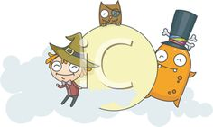 iCLIPART - Royalty Free Clipart Image of a Witch, Monster and Owl Playing Around a Moon