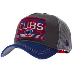 """Chicago Cubs Grey and Blue """"Estd 1876"""" Mesh Back Trucker Cap by New Era #Chicago #Cubs #ChicagoCubs"""