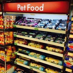 Pets displays are improving. Lighted shelving and category signage. Signage, Shelving, Display, Marketing, Pets, Home Decor, Shelves, Floor Space, Decoration Home