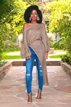 Asymmetrical Off Shoulder Knit + Ripped Skinny Jeans (Style Pantry) Classy Outfits, Chic Outfits, Fall Outfits, Fashion Outfits, Jeans Fashion, Black Women Fashion, Look Fashion, Womens Fashion, Daily Fashion