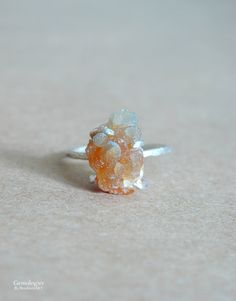 Raw Crystal Ring for Her Rough Crystal Zincite by Gemologies