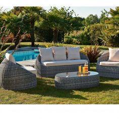 Salon de jardin ISA - banquette 3 places + 2 fauteuils et 1 table basse.   canapé  outdoor 447b7f783755