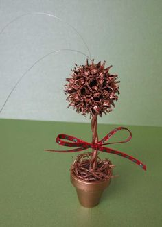 from these hands - Tutorials - Sweetgum Ball Topiary Ornament Tutorial Christmas Craft Projects, Christmas Crafts, Sweet Gum Tree Crafts, Nature Crafts, Fun Crafts, Christmas Bazaar Ideas, Christmas Ideas, Christmas Decorations, Christmas Service