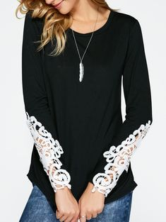 Long Sleeves Lace Insert T-Shirt in Black | Sammydress.com