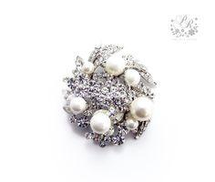 Wedding Swarovski Pearl Rhinestone brooch adornment, Sash Buckle, Hair comb, Clutch Bridal Jewelry. $18.00, via Etsy.