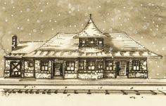 kirkwood, mo  train station watercolor by kathy schmiedeskamp #schmiedartkamp