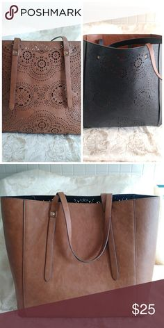 5e572b2a021c Large Brown Black Reversible Tote Measures 14 wide X 13 high X 7 deep.  Reversible