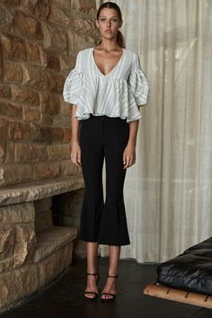 Sharona Frill Peasant Top | White & Black | Tops | Shona Joy