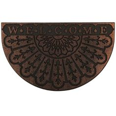 Ornate Welcome Slice Tuff Tone Copper 18-Inch by 30-Inch Doormat by Townhouse Rugs. $17.99. Clean with vacuum or shake out occasionally rinse with garden hose air dry. Durable. Recycled rubber backing. Recycled rubber with heat transfer polyester flock face. Machine made doormat. Your doorway is the first chance you have at a great impression. This ornate welcome mats cordially greets your guests. Crafted from recycled rubber this mat is an addition to any entryway. Our ...