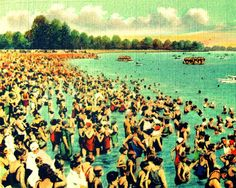 photograph BUSY BEACH coastal 8x10 1930s red aqua yellow color Florida vintage summer crowd beach lover gift Nostalgia