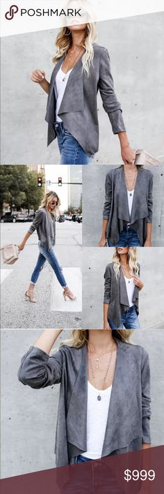 Preview! Slate Gray Suede Waterfall Jacket Preview! Slate Gray Suede Waterfall Jacket • Coming Soon! Like this listing to be notified upon arrival Jackets & Coats Blazers