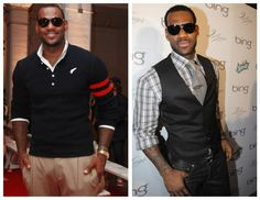 This is LeBron James. I prefer the look on the right. The fit of the clothes is better and the outfit definitely has more style, though a thinner tie may look a little sharper. The tie and sunglasses are the centerpiece of this outfit.