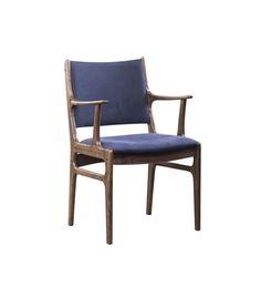 Thomas Bina armchair blue canvas on walnut frame. Dining chair for $199