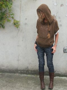 iLE AiYE hooded Sweater by ileaiye on Etsy, $145.00 Love her designs, they are so pretty and wearable!