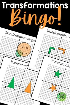 Bingo is a fun way for 8th grade math or Geometry students to practice transformations on the coordinate grid!  Includes examples of translations, rotations, reflections, and dilations.  Students love this engaging activity for review! Translation Rotation Reflection, Geometric Transformations, Fun Math Activities, 8th Grade Math, Bingo Games, Common Core Math, Group Work, Math Lessons, Geometry