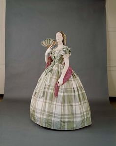 Plaid silk evening dress, 1850-60. | In the Swan's Shadow