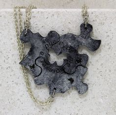 Friendship  Puzzle Piece Necklaces or Key by GirlwithaFrogTattoo