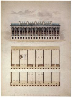 Elevation and plans of Colonnade Row, New York City
