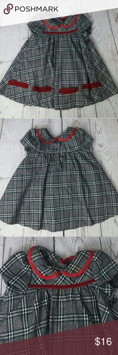 **BonnieBaby** Red & Gray Checkered Dress Red & Gray checkered dress with red velvet piping. Size 12 months Bonnie Baby Dresses Formal