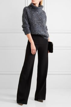Brunello Cucinelli | Sequined chunky-knit turtleneck sweater | NET-A-PORTER.COM