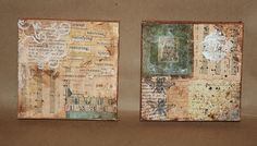 pair of 5x5 collage on canvas - small canvas collage-mixed media by lynne larkin