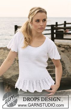 """DROPS top in """"Safran"""" with flounce and short sleeves in lace pattern. Size: S-XXXL ~ DROPS Design Ladies Cardigan Knitting Patterns, Free Knitting Patterns For Women, Knitting Designs, Scarf Patterns, Knitting Tutorials, Drops Design, Crochet Top Outfit, Crochet Clothes, Pull Poncho"""