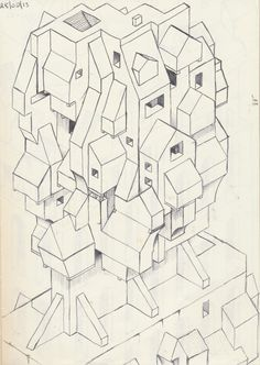 My first real isometric drawing using a black pen----Ang