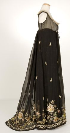 Empire-Style Evening Dress: ca. 1800-1810, embroidered organza with black cotton warp and silk weft.