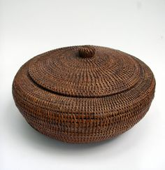 American Indian Inuit Baleen Lidded Basket Native American Indian Basket with Beautiful Patina