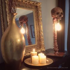 Horror bone lamp and human   https://www.etsy.com/shop/catacombculture